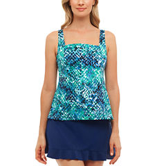 St. John's Bay Muted Reptile Pleated Square Neck Tankini