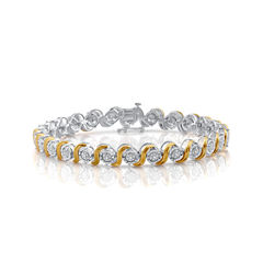 Womens 7.5 Inch 1/10 CT. T.W. Diamond 14K Yellow Gold Over Silver Link Bracelet