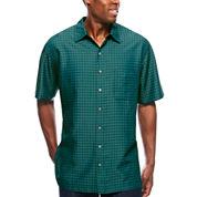 Van Heusen Short Sleeve Textured Grid Button-Front Shirt-Big & Tall