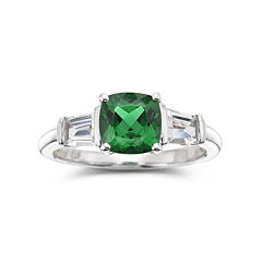 Simulated Emerald & Lab-Created White Sapphire Sterling Silver 3-Stone Ring