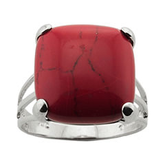 Simulated Red Jasper Silver-Plated Ring