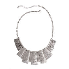 EL by Erica Lyons Womens Silver Over Brass Collar Necklace