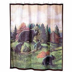 Avanti Black Bear Lodge Shower Curtain