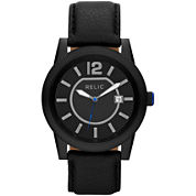 Relic® Payton Mens Black Leather Strap Watch
