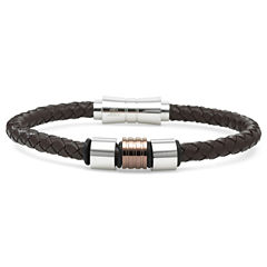 Mens Leather & Stainless Steel Fashion Bracelet