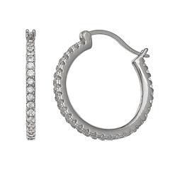 Silver Treasures White Sterling Silver Hoop Earrings