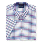 Stafford Travel Wrinkle Free Short-Sleeve Oxford Dress Shirt Big And Tall