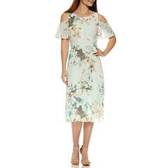 Perceptions Cold Shoulder Short Sleeve Fit & Flare Dress