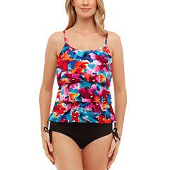 St. John's Bay® Pretty Pleats Floral Triple TierTankini or Adjustable Side Brief