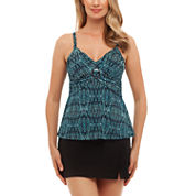 St. John`s Bay® Tribal Textiles Buckle Front Tankini or Side-Slit Swim Skirt