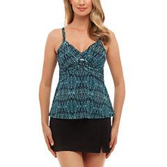 St. John's Bay® Tribal Textiles Buckle Front Tankini or Side-Slit Swim Skirt