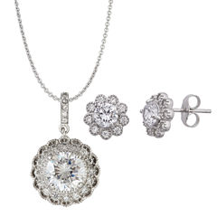 Womens 3-pc. 4 1/2 CT. T.W. White Cubic Zirconia Sterling Silver Jewelry Set