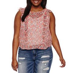Arizona Sheer Floral Ruffle Top- Juniors Plus