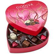 Godiva 9 Piece Valentine Heart Assorted Chocolates Box