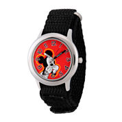 Disney Mickey Mouse Boys Black Strap Watch-Wds000155