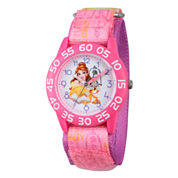 Disney Time Teacher Beauty and the Beast Girls Pink Strap Watch-W002927