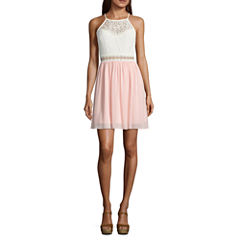 by&by Sleeveless Lace A-Line Dress-Juniors