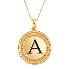 Personalized 10K Yellow Gold Initial Disc Pendant Necklace