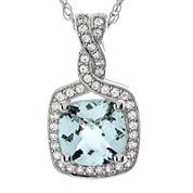 Genuine Aquamarine and Lab-Created White Sapphire Pendant Necklace