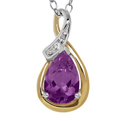 Genuine Amethyst and Diamond-Accent Drop Pendant Necklace