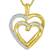 ForeverMine® 1/10 CT. T.W. Diamond 14K Yellow Gold Over Silver Double Heart Pendant Necklace