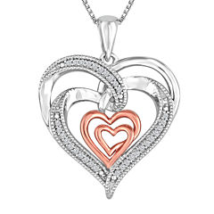ForeverMine® 1/10 CT. T.W. Diamond Double Heart Pendant Necklace