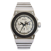 Invicta® Mens Silver-Tone Round Chronograph Bracelet Watch