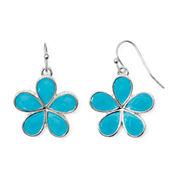 Liz Claiborne® Blue Stone Silver-Tone Flower Drop Earrings