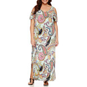 Msk Short Sleeve Cold Shoulder Paisley Maxi Dress-Plus