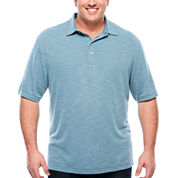 Van Heusen Short Sleeve Two Tone Textured Slub Box Polo- Big and Tall