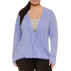 Xersion Long Sleeve Draped Neck T-Shirt-Womens Plus