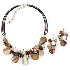 2-pc. Brown & Cream Shell Cluster Necklace & Earrings Jewelry Set