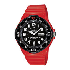 Casio® Mens Red Resin Strap Diver Sport Watch MRW200HC4BOS