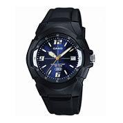 Casio® Mens Blue Dial Black Resin Strap Sport Watch MW600F-2AVOS