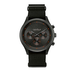 Caravelle New York® Mens Black Nylon Fast Strap Watch 45A130