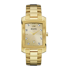 Bulova® Diamonds Mens Diamond-Accent Rectangular Gold-Tone Stainless Steel Watch 97D107