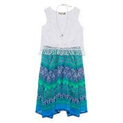 Speechless® Aztec-Print Sharkbite Dress with Necklace - Girls 7-16