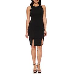 Bisou Bisou Sleeveless Embellished Stripe Sheath Dress