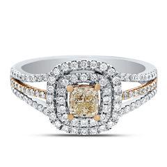 Womens 1 CT. T.W. Cushion Yellow Diamond 14K Gold Engagement Ring
