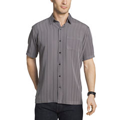Van Heusen Short Sleeve Textured Stripe Camp Button-Front Shirt