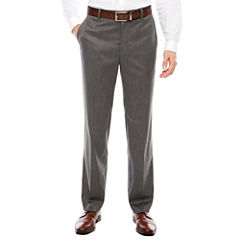 Men's J.Ferrar Stretch Gray Birdseye Flat-Front Straight-Leg Slim Fit Pants