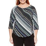 Liz Claiborne 3/4 Sleeve Crew Neck Knit Blouse-Plus