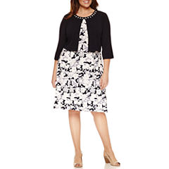 Perceptions 3/4 Sleeve Beaded Jacket Dress-Plus