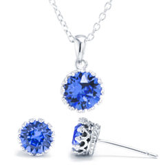 Sparkle Allure Womens 3-pc. Blue Silver Over Brass Jewelry Set