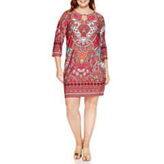 Tiana B 3/4 Sleeve Paisley Sheath Dress-Plus