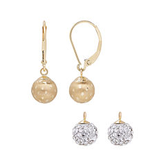 2-pc. White Crystal 14K Gold Earring Sets