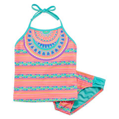 Breaking Waves Girls Medallion Tankini Set - Big Kid