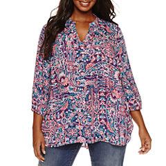Boutique + 3/4 Sleeve Woven Blouse-Plus