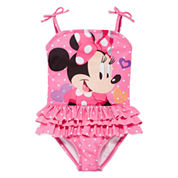 Disney Minnie Mouse Solid One Piece Swimsuit Toddler Girls
