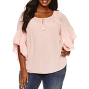 a.n.a Short Sleeve V Neck Rayon Blouse-Plus